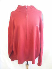 Mens Cardigan - Duck & Cover, size XL, red, stripe on arm, knitted, zip up 0026