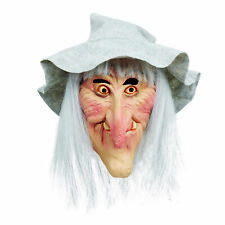Ladies Witch Mask With Grey Hat & Hair Wicked Wench Scary Fancy Dress Accessory