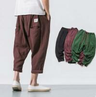 Men's Hot Sale US Cargo Lace Up Linen Cotton Summer Cropped Pants Trousers Baggy