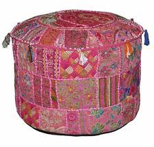 Indian Vintage Mandala Kanth Ottoman Pouffe Cover Patchwork Round Floor Pouffe