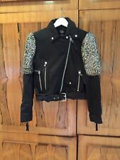 Zara Black Real Suede Leather Jewelled Jacket, Size S- New