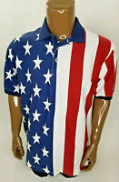 Cotton Traders Sport Mens American Flag S/S Button Polo Shirt Large
