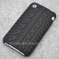 New Black Tire Design Silicone Case back cover for iphone 3g 3gs