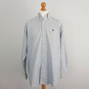 Ralph Lauren Mens White Blue Black Checked Long Sleeve Cotton Shirt  UK M