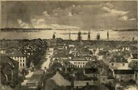 Charleston South Carolina city view Fort Sumter 1861 Harper's Civil War Print