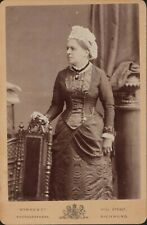Lady, moire silk costume  cameo brooch, Cabinet Card - Byrne, Richmond    JX2179