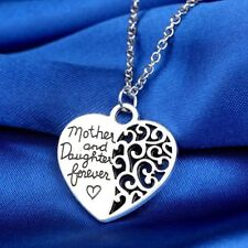 Mother and daughter Forever Heart Pendant Family Necklace Silver Plated