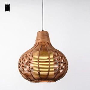 Handmade Coffee Wicker Rattan Gourd Shade Pendant Light Fixture Rustic Asian