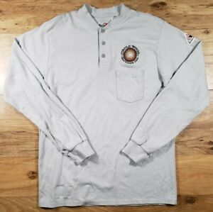 Bulwark FR Flame Resistant Men's L Reg Long Sleeve Henley Button Up Shirt Logo