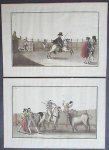Antique Spanish Bullfight Engravings by Antonio Carnicero c.1790