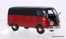 Vw t1 encadré (volkswagen camionnette) rouge/noir - 1:24 Motormax