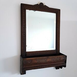 Antique Victorian Oak Wall Mirror with Shelf / Glove Box - 19th Century, Hall