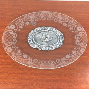 Italian Acquachiara Etched Glass Dish Tray Sterling Silver Flower Medallion