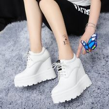 Womens Round Toe Platform Wedge Heels High Top Shoes  Lace Up Creepers Sneakers