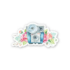Vintage Blue Watercolour Camera with Flash and Flowers Sticker Decal