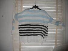 Planet ~ Lauren Grossman ~Art to Wear~ Blu/Wh/Bl Stripe Boxy Linen Sweater OSFA