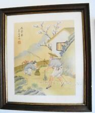 More details for vintage japanese watercolour painting on silk of fisherman with hanko seal