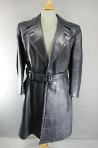 SUPERB VINTAGE DARK BLUE GERMAN MILITARY STYLE LEATHER TRENCH COAT 38 INCH