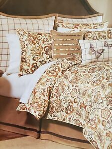 NEW CROSCILL DELILAH SPICE 4 PIECE QUEEN  COMFORTER SET