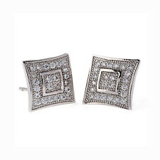 10mm Micro-paved Bulge Square Surgical Steel Ear Studs Party Wedding Earrings