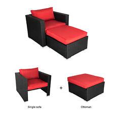 PE Patio Rattan Single Sofa Set W/ Ottoman Outdoor Furniture 2 PCs Red Cushion