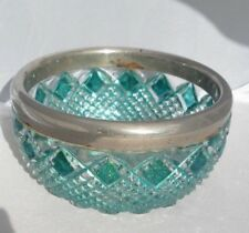 Vintage Turquoise Cut Glass with Silverplate Edge Bowl