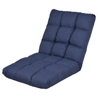 Blue Fold Sofa Floor Chair Adjustable Soft 14-Position Cushioned Tatami Bed Home