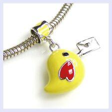 Sterling Silver Yellow Bird Mail Carrier Heart Bead for European Charm Bracelet