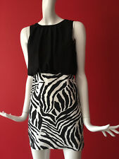 Mizumi Zebra Print Sleeveless 2 in 1 Chiffon Top & Stretch Skirt Dress 12 BNWT