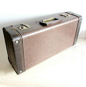 "Vintage Covered Wood Brass Musical Instrument Hard Case 20.5x10x5.5"" FREE SH"