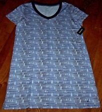 """NWT Nautica Navy/Blue/White ABSTRACT SAILBOATS Nightgown Gown XL Jersey Knit 34"""""""