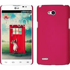 Coque Rigide LG L80 Dual - gommée rose chaud + films de protection