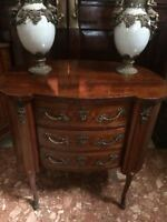 1 French Louis XVI Style Inlaid Parquetry Canted Corners Ormolu 3 Drawer Chest