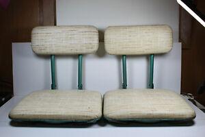 Vintage Stadium Seat Bundle, 2 Seats, Metal, Green Frame, White Cushion