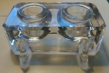 Antique ea.1900's Pressed Flint Clear Glass Desktop Double Inkwell Quill Holder