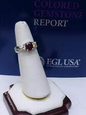 Platinum Natural Burma Ruby Light Fancy Yellow Diamond Engagement Wedding Ring