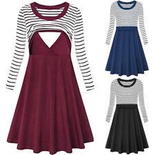Women's Stripe Long Sleeve Flare Maternity Breastfeeding Nursing Dress Swing