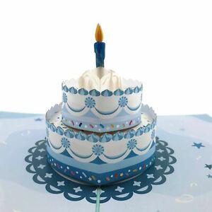 Happy Birthday Cake (blue) 3d pop up card