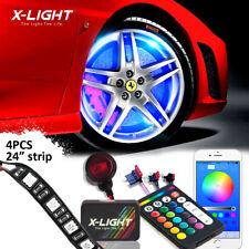 "18 Color Wheel Well LED Light Kit 4pc Custom 24"" Strips JDM Neon Glow Bluetooth"