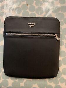 Emporio Armani Mens Small Flat Messenger Bag (Black) 4M185 BNWT Brand New Unused