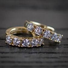 Men's Iced Lab Diamond 14k Yellow Gold Vermeil Hoops Huggie Hoop Earrings