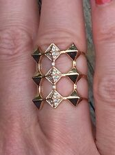 Designer 18k Rose Gold and Diamond  Pyramid Spike ring, similar to Anita Ko