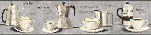 Parisian Coffee on Grey on Sure Strip Wallpaper Border BP8298BD