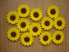 mini sunflowers x 12 cupcake / cake decorations