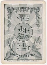 Playing Cards 1 Single Swap Card - Antique Wide J&H JOHNSTON & HUNT Wine WHISKY