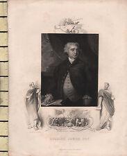 Impression portrait géorgien c1830 ~ Charles James FOX Gordon émeutes Gravure newgate