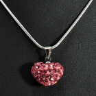 Luxury Girls Women Pendant Jewelry Crystal Heart Silver Plated Necklace+Chain