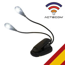 ACTECOM® LAMPARA FLEXIBLE  LED LUZ LECTURA LIBRO CON PINZA CLIP DOBLE CUELLO