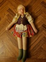 "Vintage 1950'S Polish Cloth Doll With Celluloid Face 12"" Tall Made In Poland"