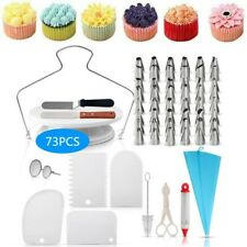 73PCS Cup Cake Dessert Decor Tools Kit Baking Supplies Turntable Spatula Stand